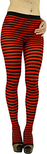 ToBeInStyle Women's Colorful Opaque Striped Tights Pantyhose Stocking Hosiery - Black/Red - One (Green And White Striped Tights)