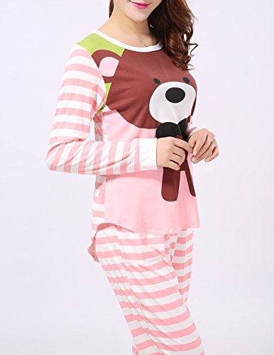 VENTELAN Women Long Sleeve Teddy Bear Round Neck Pajamas ...