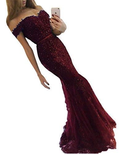 Mermaid Lace Prom Dress DYS Formal Women's Off Evening Dresses Burgundy Crystals Shoulder q4w7HUxZ1