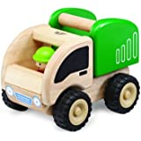 Wonderworld Green Miniature Wooden Dumper Push Toy - Real Rubber Tires +  Bonus Driver Included