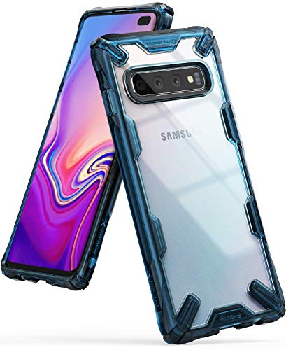Ringke Fusion-X Designed for Galaxy S10 Plus (6.4) Case, Built in Dot Matrix Rear PC Anti-Cling Renovated Bumper Military Drop Tested Defense Double Protection for Galaxy S10 Plus - Space Blue