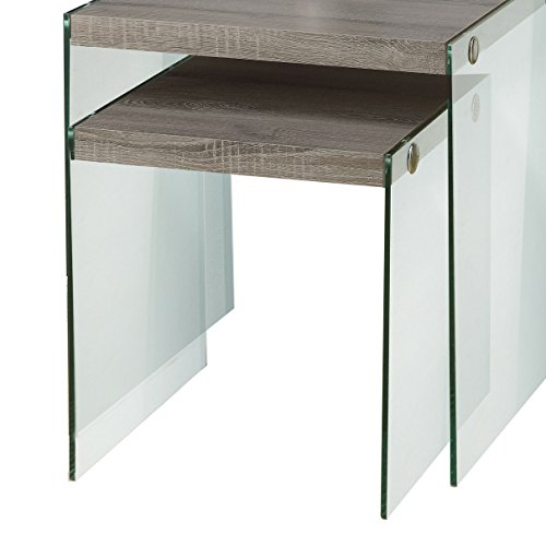 (Monarch Specialties I 3053,Nesting Table, Tempered Glass, Dark)