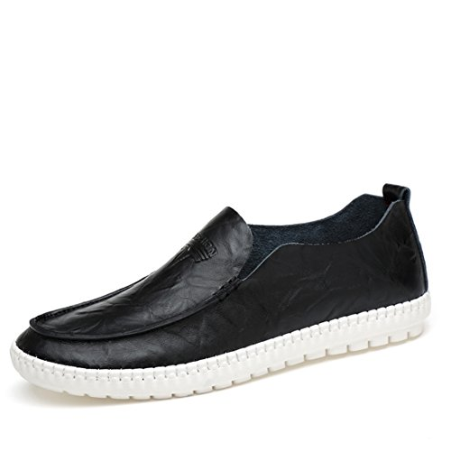 Minitoo Boys Mens Slip-On Rubber Sole Synthetic Casual Loafers Black