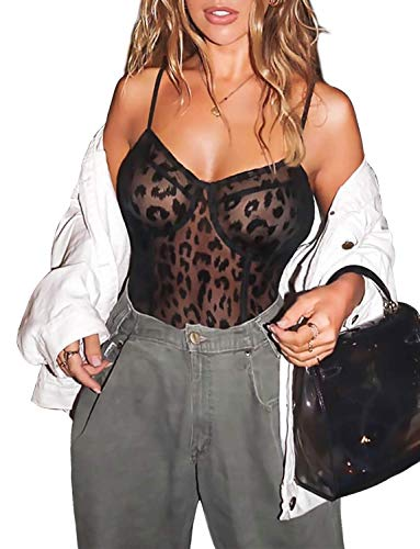 Women's Sexy Lace Bodysuit Naughty Teddy Lingerie (01-Leopard, Large) -