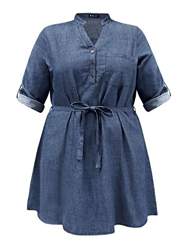Buy belted denim shirt dress - 7