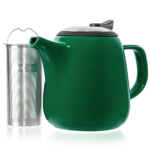 (Tealyra - Daze Ceramic Teapot Green - 27-ounce (2-3 cups) - Small Ceramic Teapot with Stainless Steel Lid Extra-Fine Infuser for Loose Leaf Tea -)