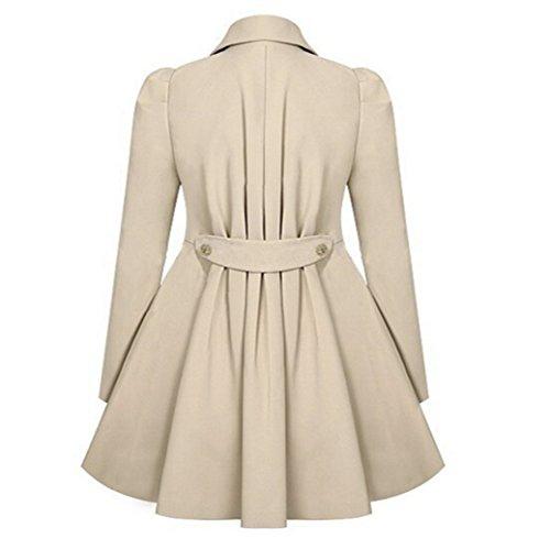 Mode Outwear Femme double Beige Manteau lgant long boutonnage Slim Fami qa0gnw7x