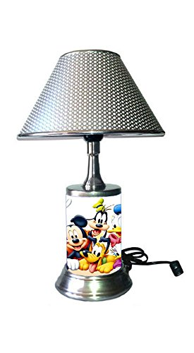 Disney Characters Lamp with chrome shade, Mickey Mouse, Minnie Mouse and more ()
