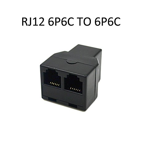 RJ12 6P6C 3Female Telephone Splitter Adapter Cable (Black)