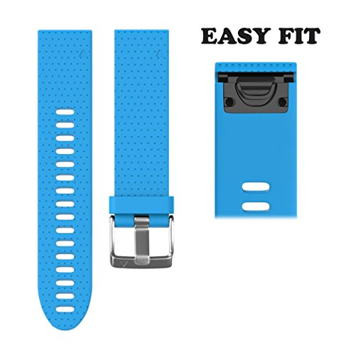 ANCOOL for Garmin Fenix 5S Band 20mm Width Easy Fit Soft Silicone Watch Band With Silver Color Metal Buckle for Fenix 5S - Blue