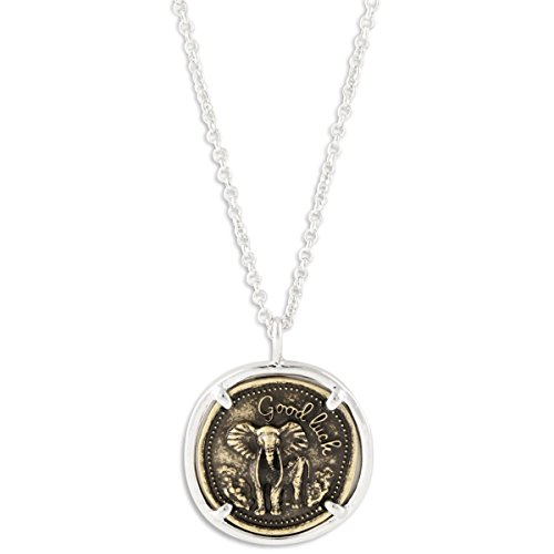 Antiqued Two Tone Good Luck Elephant Coin Pendant Necklace on 30
