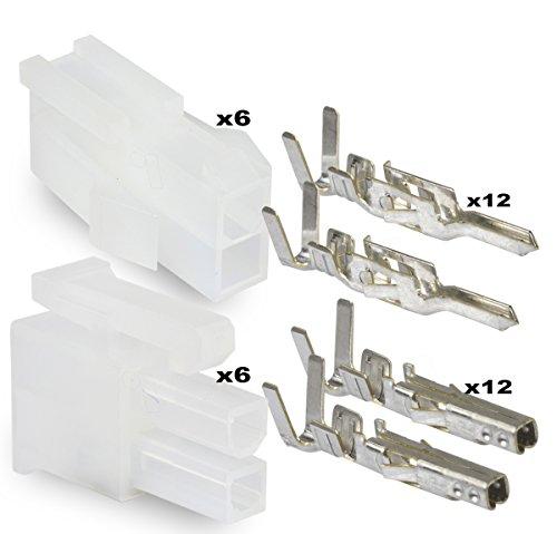 Molex 2 Pin Connector Lot, 6 Matched Sets, w/18-24 AWG w/ Pins Mini-Fit Jr