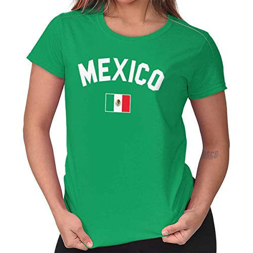 T-shirt Football Cut Womens (Womens Funny T Shirt Mexico Flag Athletic Soccer Mexican National Flag Pride Irish Green)