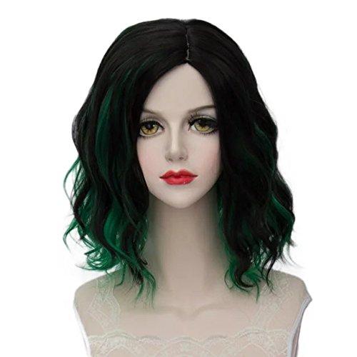 Lolita Multicolor 35cm Short Wavy Halloween Cosplay Wigs+Cap