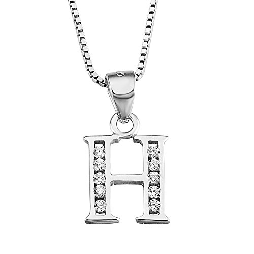 YFN Initial H Pendant Necklace in Sterling Silver with Cubic Zirconial 26 Letter Alphabet Jewelry for Women Teen Girl