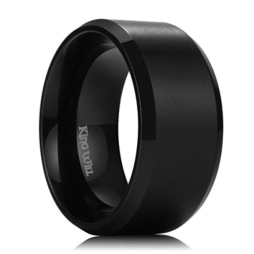Center Titanium Wedding Band (King Will BASIC 10mm Black Titanium Wedding Ring Brushed Center Engagement Band Beveled Edge (9))