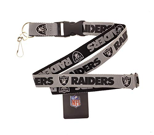 Genuine Authentic Licensed Football Sports Lanyard Two Tone Woven Polyester (Raiders)
