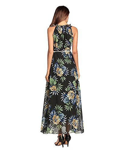 Borje Robe Imprimé Floral Cru Licou Sans Manches Femmes De La Mode Maxi Noir Robe De Soirée Longue (b)