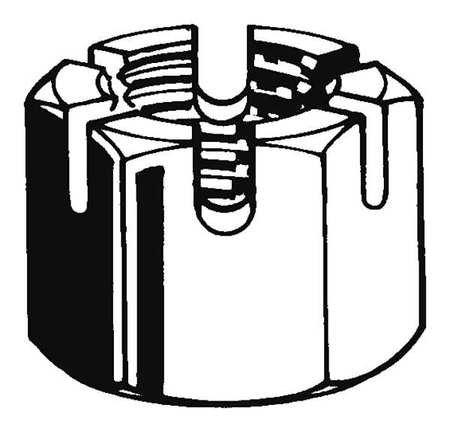 3/4''-10 Grade 8 Plain Finish Carbon Steel Round Slotted Castle Nut, 5 pk. (2 pieces)