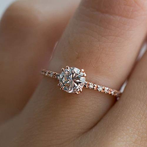 QIAOYING Rose Gold Plated 2ct Round CZ 4 Prongs Simulated Diamond Solitaire Wedding Engagement Rings for Women (9)