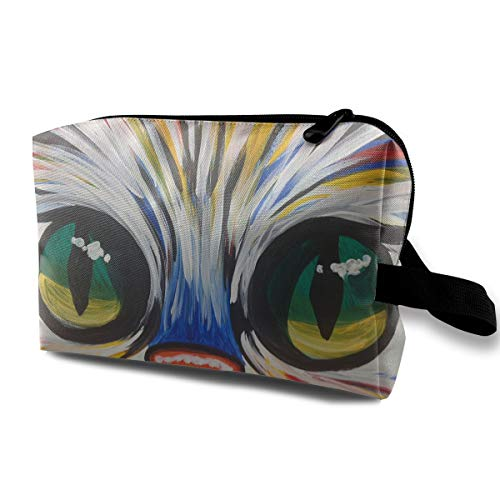 Travel Makeup Cosmetic Bag Brush Pouch Kitty Face Zipper Pen Organizer Carry Case ()