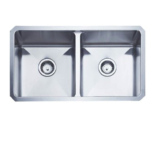 AFA USA AF1R3117TE Inset & Undermount Double Bowl Kitchen Sink, Stainless Steel (Inset Sink Double)
