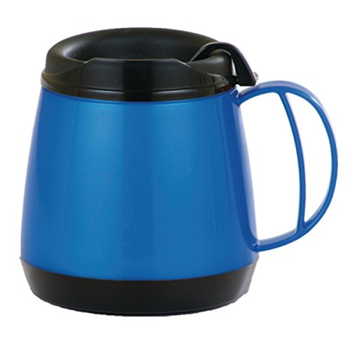 Sammons Preston Wide Body Thermo Mug, 20 oz., Blue, Foam Insulation Maintains Temperature of Hot & Cold Drinks, Durable Cup with Unbreakable Plastic Lining, Dent & Rust Proof, Ergonomic Handle