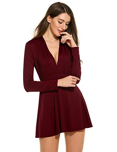 ANGVNS Women Long Sleeve Draped T-shirt V Neck Flattering Tunic Tops, Wine Red, M