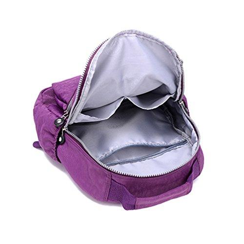 Bolsa Mujer Bolsillos Mochila Muchos Impresión Casual Escuela Cremallera Morado Yujeet Impermeable wA78wq