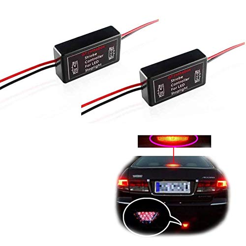 GTINTHEBOX 2PCS GS-100A LED Brake Stop Tail Light Strobe Flash Modules Controllers Boxes For Car Truck 3rd Brake or High Mount Clearance Lamp Bulbs 12V-24V