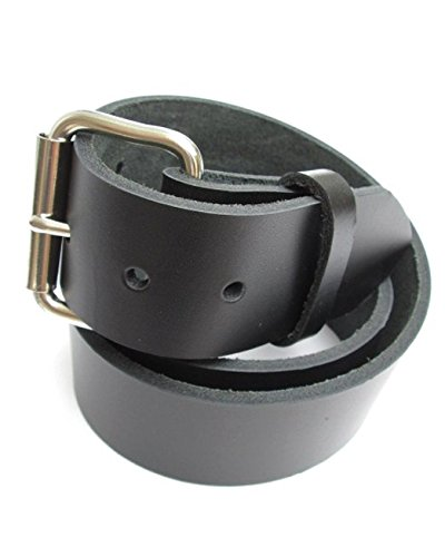 (Mens Heavy Black Leather Belt 1 3/4