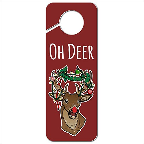 GRAPHICS & MORE Oh Deer Dear Christmas Holidays Funny Plastic Door Knob Hanger Sign - Image