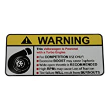 Volkswagen Turbocharged II, warning decal, sticker perfect gift