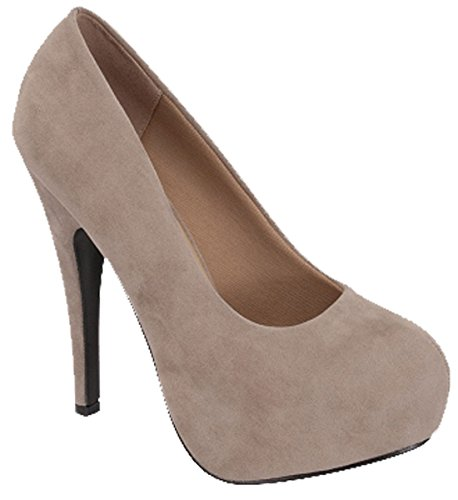 Forever Link Womens Sunset-89 Suede Closed Toe Dress Pumps Taupe bYy0lu