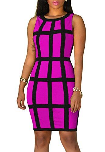 YMING Damen Figurbetontes Kleid Knielang Hoch Taille Etuikleid Abendkleid Party Kleider Elegant Ärmellos Fuchsia pqf4tAP7G