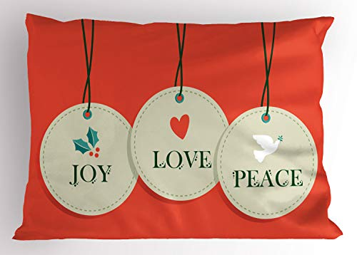 Ambesonne Christmas Pillow Sham, Joy Love and Peace Words Pendants Merry Christmas Holiday Celebration Theme, Decorative Standard Size Printed Pillowcase, 26 X 20 inches, Vermilion Cream
