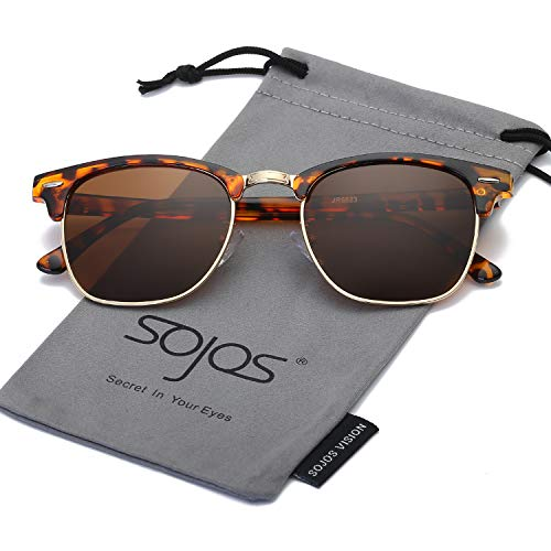 0945d004354 SOJOS Clubmaster Horn-rimmed Semi Rimless Polarized Sunglasses SJ5018 with  Tortoise Frame Brown Polarized