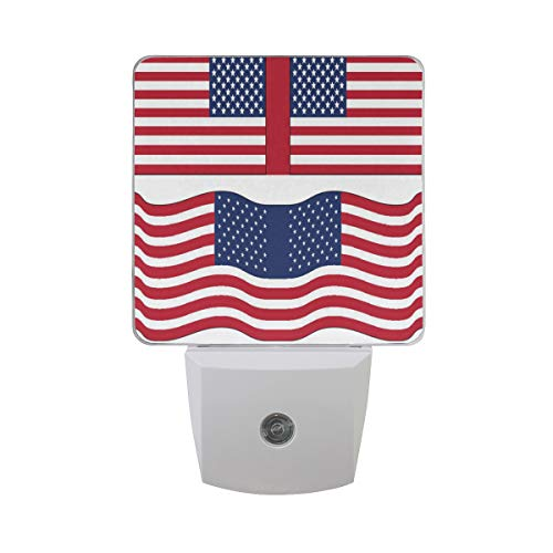 Night Lamp American Flag Printables Night Light LED Sensor Auto on/Off Led Plug in Wall Lights 2 Pack ()