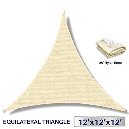 12' x 12' x 12' Sun Shade Sail UV Block Fabric Canopy in Beige Sand Triangle for Patio Garden Patio Customized (3 Year Warranty)
