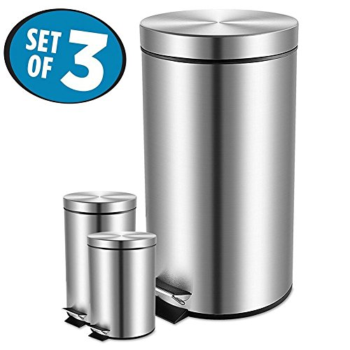 Fortune Candy Anti-Fingerprint Round Stainless Steel Garbage Can with Soft Close Lid,Removable Inner Wastebasket,3 Piece Kitchen Trash Can Set,8 & 1.3 & 0.8 Gallon