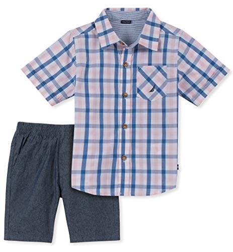 Nautica Sets (KHQ) Boys' Toddler 2 Pieces Shirt Shorts Set, Blue/Salmon Plaid, 3T