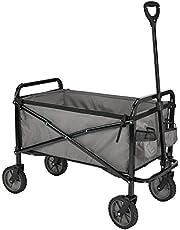 Amazon Basics Garden Tool Collection - Collapsible Folding Outdoor Garden Utility Wagon with Cover Bag, Grey