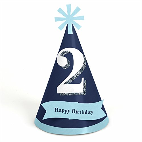 Two Much Fun - Boy - 2nd Birthday - Cone Party Hats - 8 Count