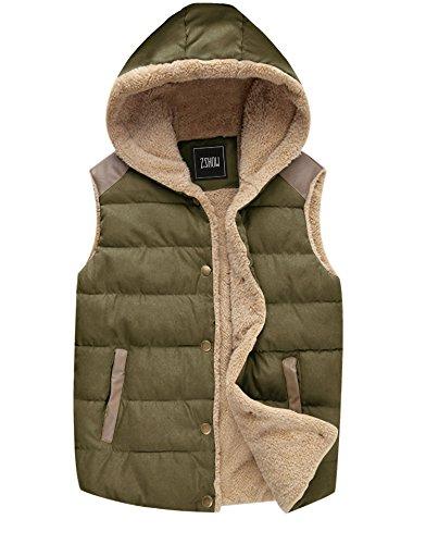 (ZSHOW Women's Sport Outdoor Vest Casual Warm Thick Hooded Vest Fleece Jacket,US-L,Army Green)