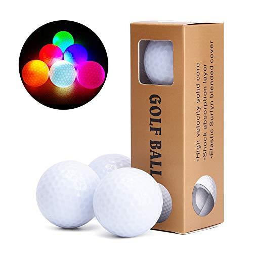 Light Up Golf Balls (TOBWOLF 6Pcs LED Golf Balls, Glow in The Dark Practice Golf Balls, Long Lasting Bright & Multi Color, Professional Night Luminous Golf)