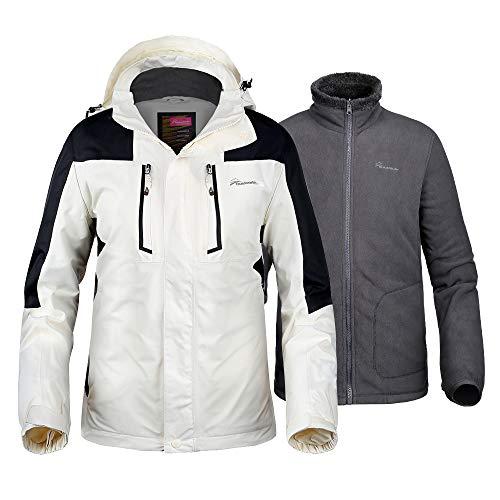 OutdoorMaster Men's 3-in-1 Ski Jacket - Winter Jacket Set with Fleece Liner Jacket & Hooded Waterproof Shell - for Men (Off White,S)