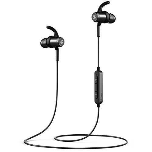 SoundPEATS Bluetooth Headphones Magnetic Wireless Earbuds for Sports Workout in-Ear Earphones with Mic (Bluetooth 4.1, Hands-Free Calls, 7 Hours Play Time, Secure Fit)- Black