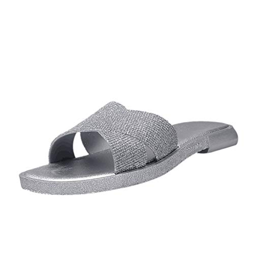 Dressin Womens Sandals Adult Classic Vintage Slip Slippers Solid Flat Peep Toe Casual Shoes Travel Flip Flop Shoes Silver