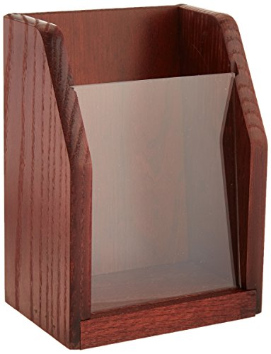 Wooden Mallet Countertop Brochure Display, Mahogany - Pamphlet Pocket Wood Display Rack