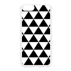 Black and White Geometric Triangles Pattern White Hard Plastic Case for iPhone 6 by UltraCases + FREE Crystal Clear Screen Protector